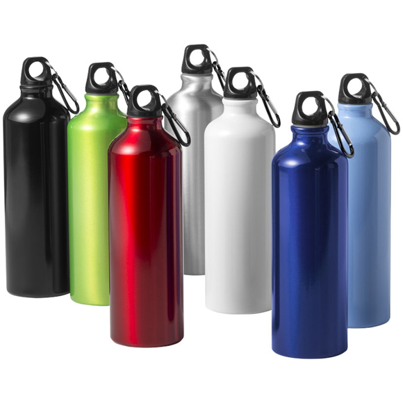 Metal drink bottles in a range of colours with lack screw on lids and carabiner clips