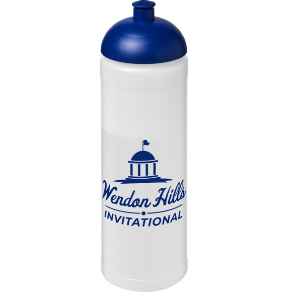 Branded 750ml frosted sports bottle with navy lid and company logo printed on the front