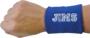 Wrist Sweat Band in Blue Showing on Wrist