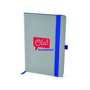 A5 grey PU ashurst notebook with blue coloured edge paper, elastic pen loop and closure strap and 2 colour print logo