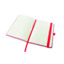 Open A5 PU ashurst notebook with lined paper, red coloured edge paper, elastic pen loop and closure strap