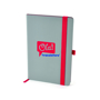 A5 grey PU ashurst notebook with red coloured edge paper, elastic pen loop and closure strap and 2 colour print logo