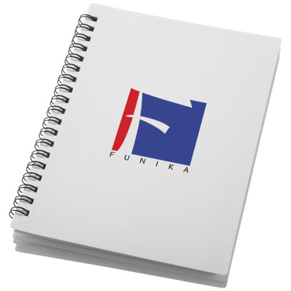A6 wiro notepad with white plastic cover and 3 colour print logo