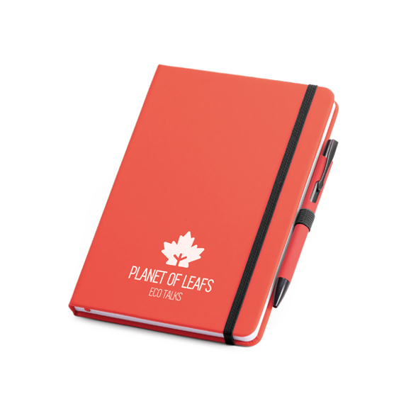 Imitation leather notebook in red with black elastic closure strap and pen loop with colour patch pen and white logo