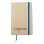 A6 evernote recycled paper notebook with blue elastic closure strap and ribbon with 2 colour print logo