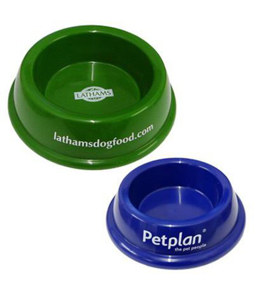 big pet bowl in green and blue with 1 colour print logo