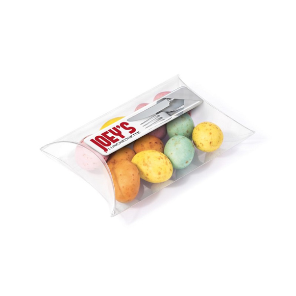 Solid speckled chocolate eggs in a large pouch branded with a full colour label to the top