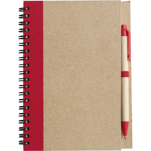Recycled Notepad and Pen with red trim and colour match pen