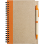 Recycled Notepad and Pen with orange trim and colour match pen