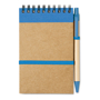 A6 Sonora recycled notebook with wire binding and blue coloured trim with colour matching pens and coloured elastic closure strap, pen loop and recycled ball pen with biodegradable plastic parts