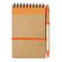 A6 Sonora recycled notebook with wire binding and orange coloured trim with colour matching pens and coloured elastic closure strap, pen loop and recycled ball pen with biodegradable plastic parts