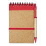 A6 Sonora recycled notebook with wire binding and red coloured trim with colour matching pens and coloured elastic closure strap, pen loop and recycled ball pen with biodegradable plastic parts