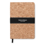 A5 Suro cork cover notebook with black strap and ribbon with 1 colour white print logo on strap