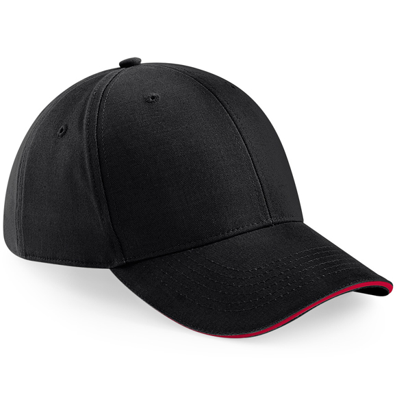 Athleisure 6 Panel Cap in black with red trim