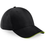 Athleisure 6 Panel Cap in black with lime green trim