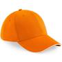Athleisure 6 Panel Cap in orange with white trim