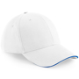 Athleisure 6 Panel Cap in white with blue trim