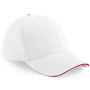 Athleisure 6 Panel Cap in white with red trim