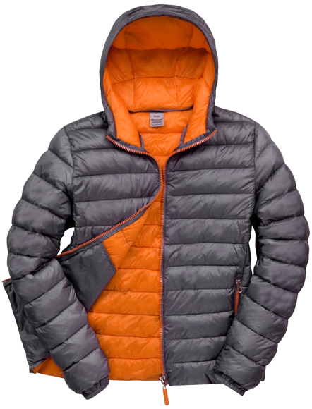 Men's Snow Bird Hooded Jacket in grey with orange lining
