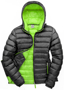 Women's Snow Bird Hooded Jacket in black with green lining