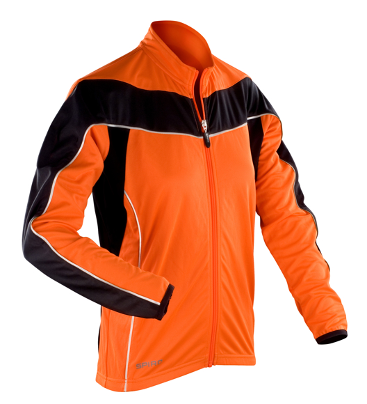 Women's Spiro Long Sleeve Performance Top in orange with black panels and reflective trim