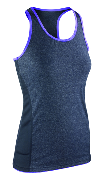 Women's Stringer back top in navy with purple trim