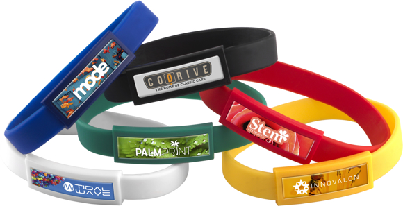 Domed Silicone Wristbands in blue, black, red, green, yellow and white with full colour print