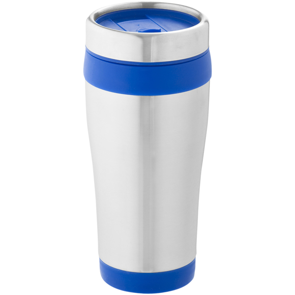 Elwood Travel Tumbler in silver and blue