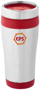 Elwood Travel Tumbler in silver and red with 2 colour print logo