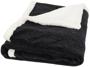 Heathered fleece plaid blanket in black