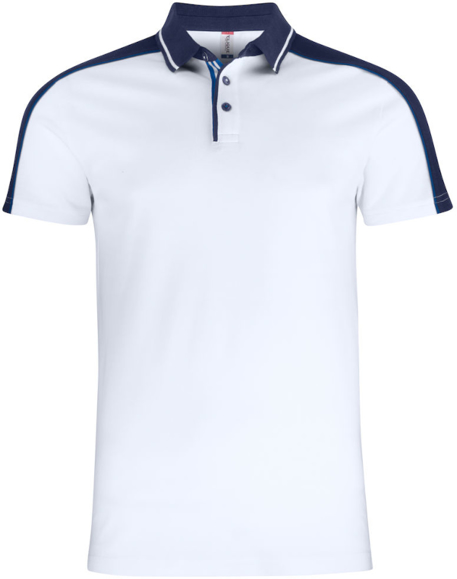 Pittsford Polo Shirt in white with navy details