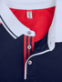 Pittsford Polo Shirt in Navy With Red and White Details Close Up of Front Buttons