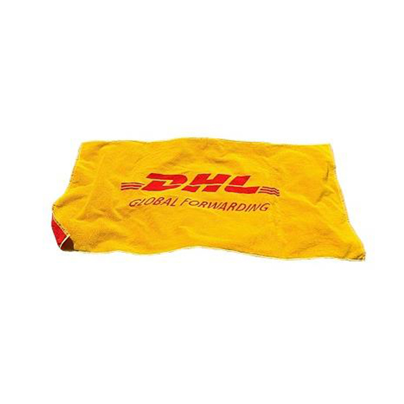 Jacquard Woven Towel in red and yellow with red logo