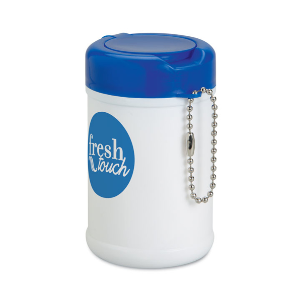 Kenan Cleansing Wipes with blue lid and 1 colour print logo