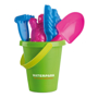 Sandy green bucket with 2 colour print logo with pink and blue tools