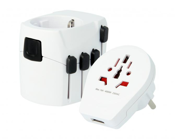 SKROSS® PRO - World & USB Adaptor & Charger in white