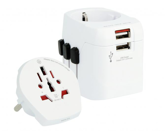 SKROSS® PRO Light USB - World Adaptor & Charger in white