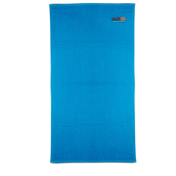 Tuva Beach Towel in blue with 3 colour logo