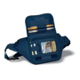 Waist Bag in navy showing compartments