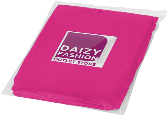 Ziva Disposable Poncho in pink in pouch with 2 colour print logo