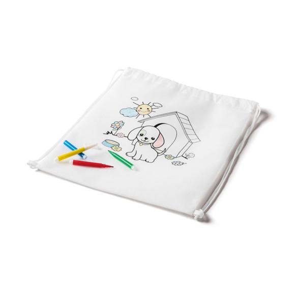childrens colouring drawstring bag