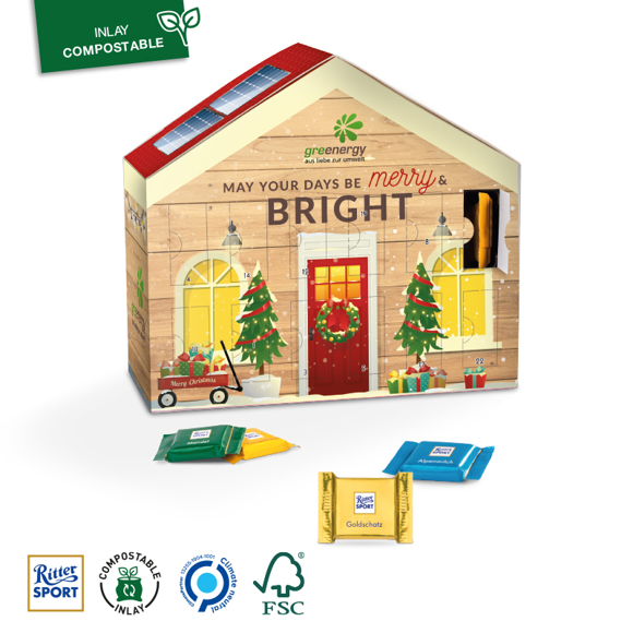 Advent Calendar House with full colour print and some chocolates