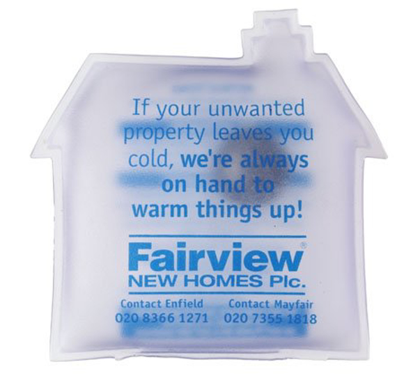 Large House Shape Heat Pack in clear with 1 colour print