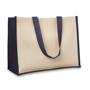 Navy and cream large shopper bag with long shoulder straps