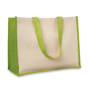 Natural shopper bag with lime green side panels and matching shoulder handles