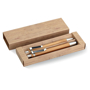 Bambooset with stylus pen an mechanical pencil in a paper box