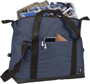 "Day 17"" Duffel Bag in navy with black straps showing pockets"