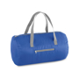Foldable gym bag in blue with grey straps and details