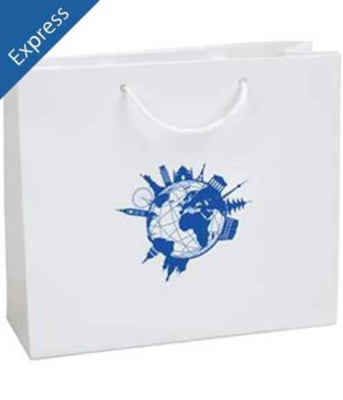 white rope handle bag with 1 colour logo