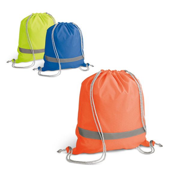Reflective Drawstring Bag in yellow, blue and orange with reflective stripe